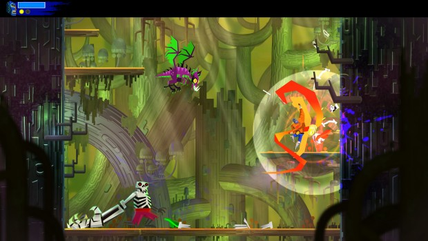 Guacamelee! 2 screenshot of a fight with tons of enemies