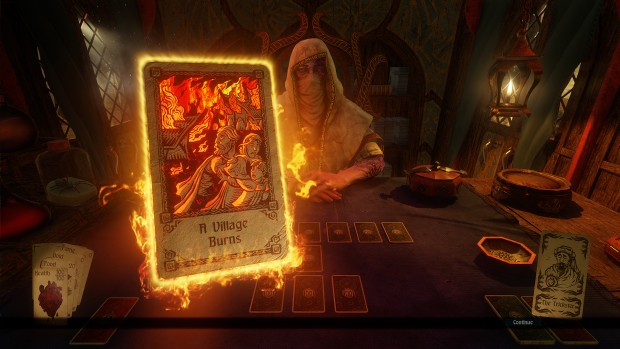 "Hand of Fate 2 screenshot of the dealer and a ""Village Burns"" card"