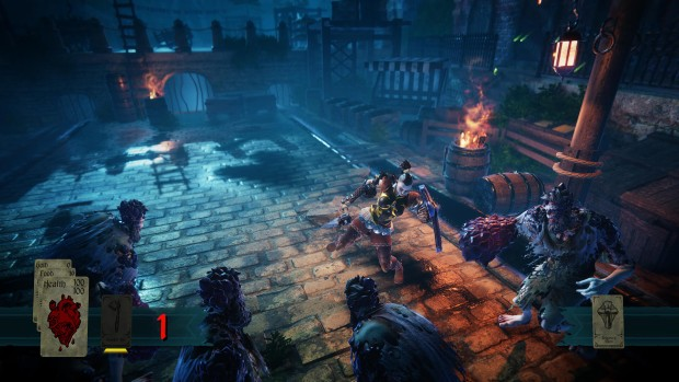 Hand of Fate 2 screenshot of a close-quarters shield charge