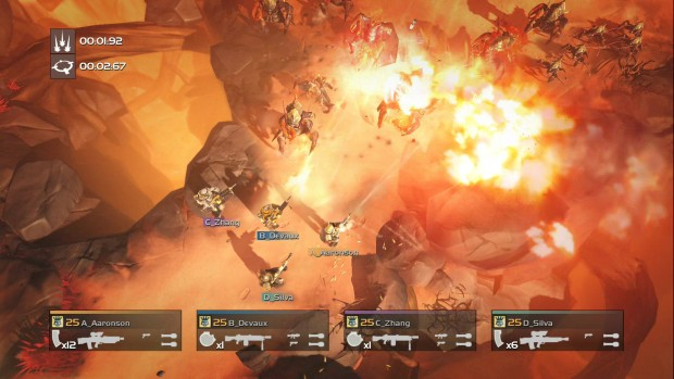 Helldivers screenshot of combat from the PC version
