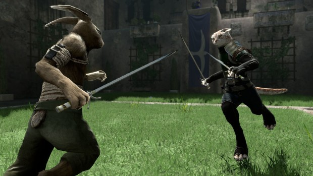 Overgrowth screenshot of a duel against a kitten ninja