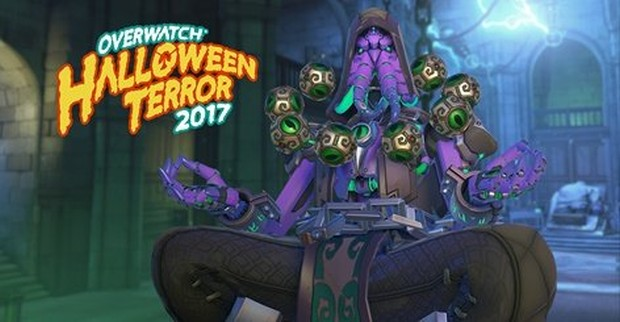 Overwatch Halloween Terror screenshot of Zenyatta's Cthulhu themed cosmetic