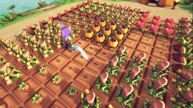 Re:Legend screenshot of a giant field of crops being watered by the player