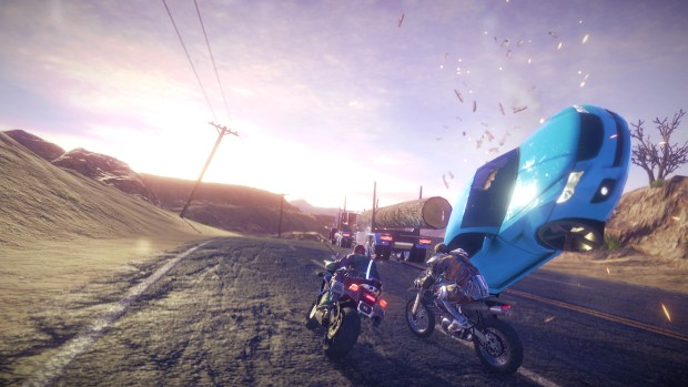 Road Redemption screenshot of a car being flipped