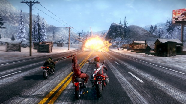 Road Redemption screenshot of a highway brawl with an explosion in the background