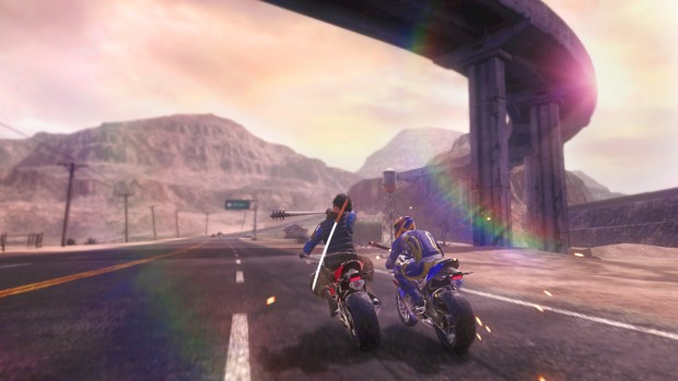 Road Redemption screenshot of a duel on the highway
