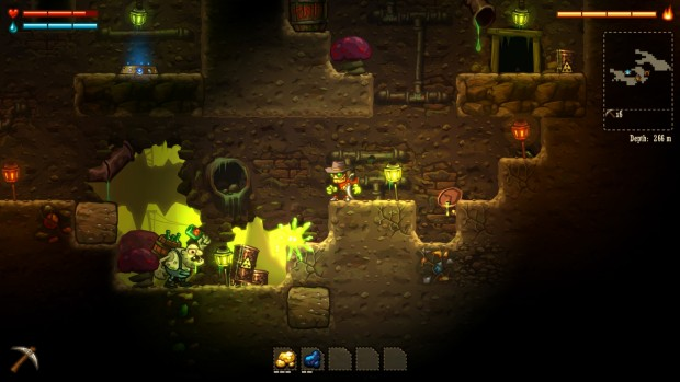 SteamWorld Dig screenshot of some dark and toxic caverns