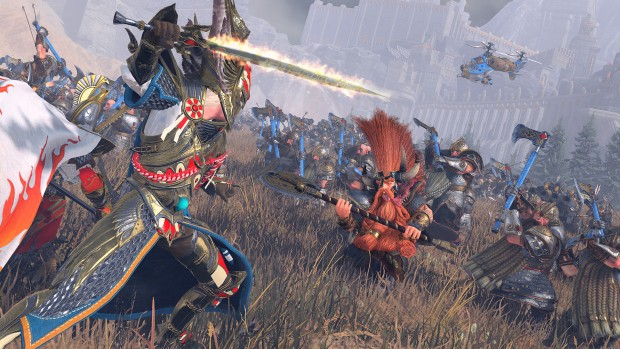 Total War: Warhammer 2 screenshot of High Elves fighting Dwarfs in the Mortal Empires campaign