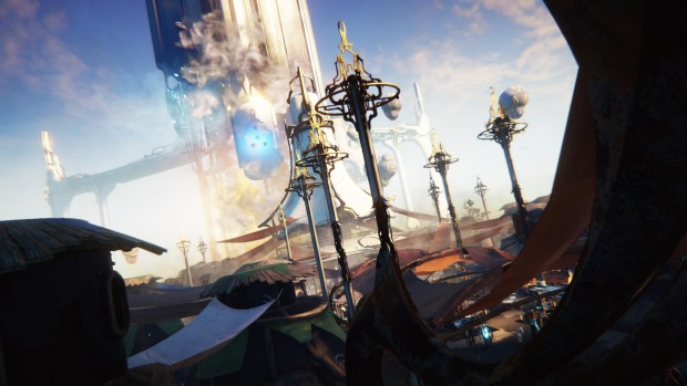Warframe Plains of Eidolon screenshot of the city's rooftops and tower