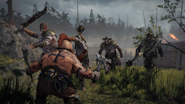 Warhammer: Vermintide 2 screenshot of a Dwarf Slayer fighting against Chaos marauders