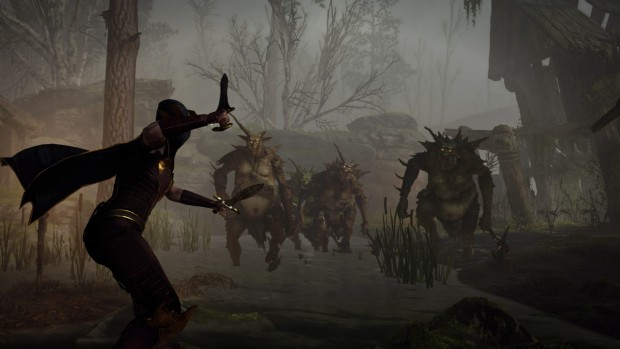 Warhammer: Vermintide 2 screenshot of the Elven Waywatcher fighting some Chaos Trolls