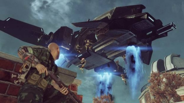 The Bureau: XCOM Declassified screenshot of a dropship depositing aliens onto the battlefield