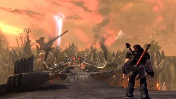 Brutal Legend screenshot of a battlefield from the PC version
