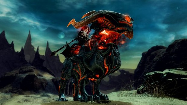 Guild Wars 2: Path of Fire screenshot of the new Forged Warhound mount skin