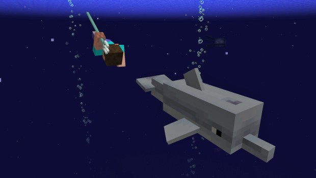 Minecraft: The Update Aquatic screenshot of a trident and a dolphin