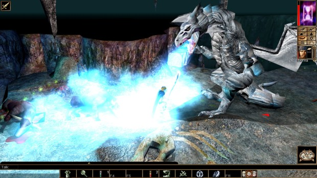 Neverwinter Nights: Enhanced Edition screenshot of a white dragon breathing fire