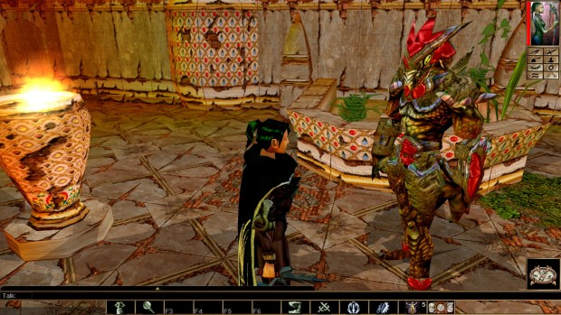 Neverwinter Nights: Enhanced Edition screenshot of a Lizardman from up close