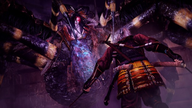 Nioh screenshot of a terrifying spider-woman hybrid boss