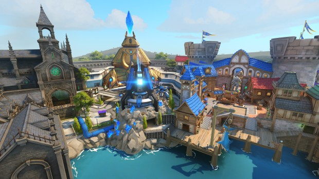 Blizzard World screenshot of the Overwatch map from afar