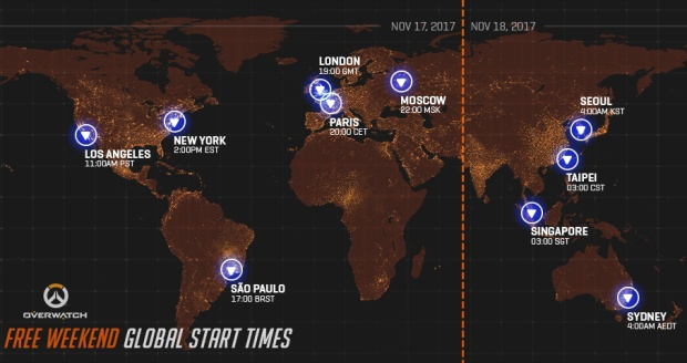 Overwatch image showing the free trial starting times for November 2017