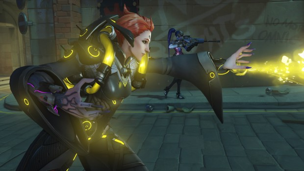 Overwatch screenshot of Moira healing from up-close