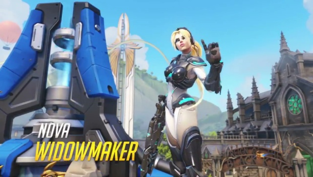 Overwatch Widowmaker cosmetic that makes her look like Nova
