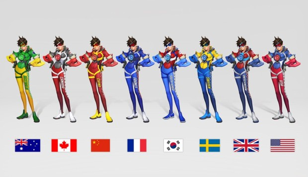 Overwatch World Cup screenshot of Tracer's outfits