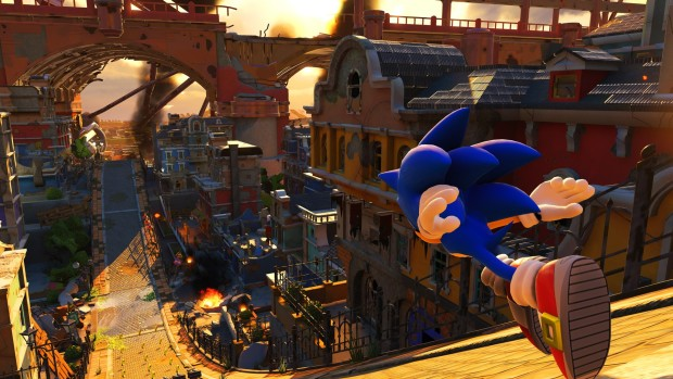 Sonic Forces screenshot of Sonic running down a steep hill