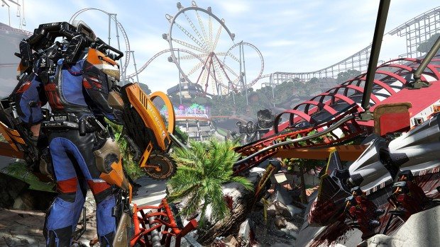The Surge A Walk in the Park expansion screenshot of a destroyed rollercoaster