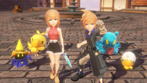 World of Final Fantasy screenshot of the two main characters and their pets