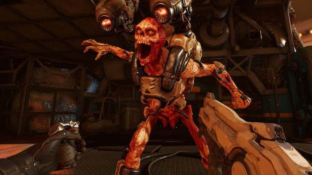 Doom VFR screenshot of a Revenant attacking the player