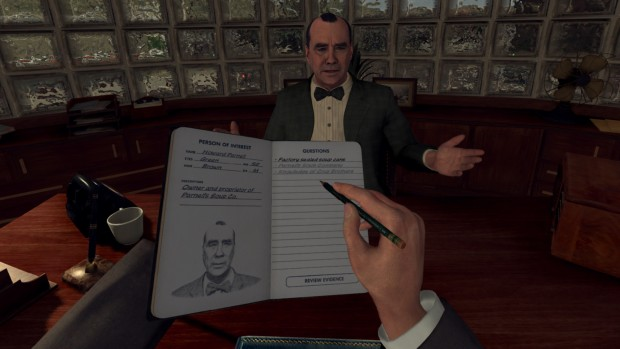Screenshot of an interrogation from the VR version of L.A. Noire