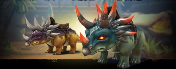 Battlerite screenshot of the two Triceratops mounts that came with the Prehistoric Mania update