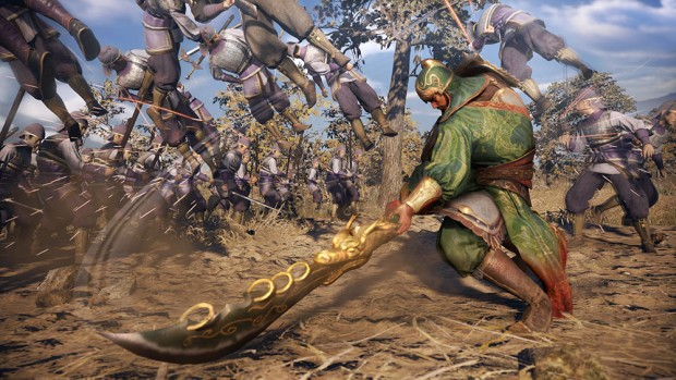 Dynasty Warriors 9 screenshot of a character plowing through a horde of infantry