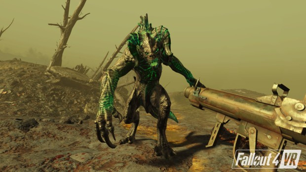 Fallout 4 VR screenshot of a Deathclaw attacking the player