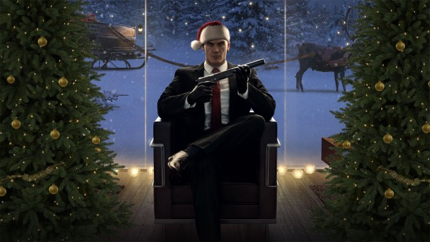 Hitman screenshot of Agent 47 in a very holiday themed atmosphere