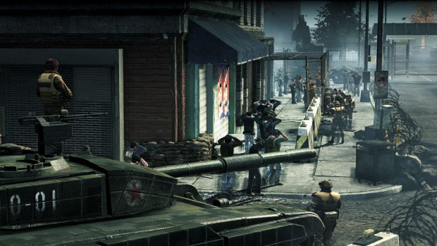 Homefront screenshot of a prison camp and a tank