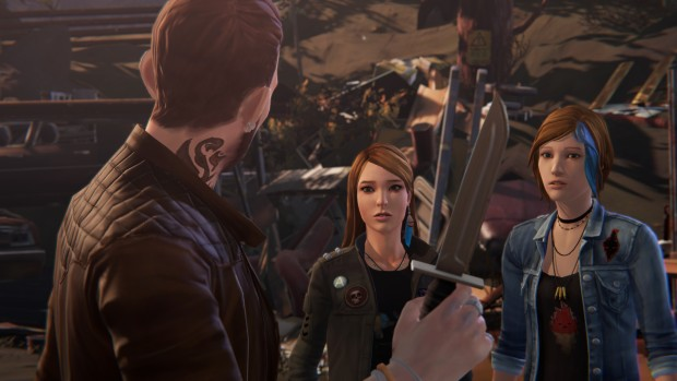 Life is Strange: Before the Storm screenshot of a thug threatening Chloe and Rachel