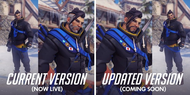 Overwatch screenshot of the improvements to the Casual Hanzo skin