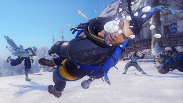 Overwatch screenshot of Hanzo getting hit by a snowball