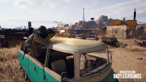 layerUnknown's Battlegrounds screenshot of a player shooting from a broken down car