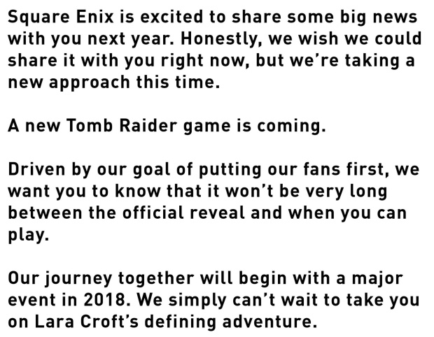 Tomb Raider 2018 announcement message from Square Enix