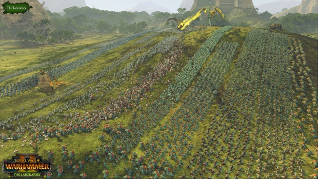"Total War: Warhammer 2 screenshot of massive Lizardmen armies from ""The Laboratory"" update"