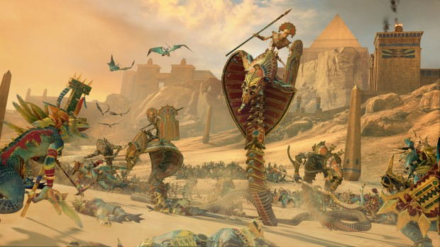 Total War: Warhammer 2 screenshot of Tomb Kings metallic snake units