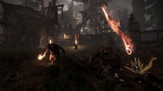 Vermintide - Death on the Reik screenshot of Skaven attacking in the night