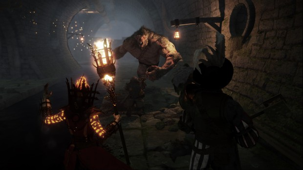 Vermintide screenshot of a Rat Ogre charging our characters