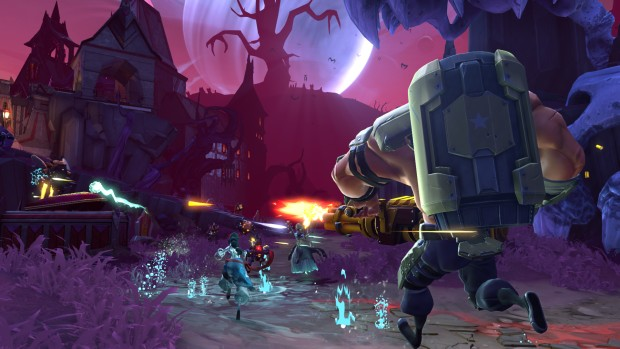 Battleborn Montana and the Demon Bear screenshot featuring some haunted trees