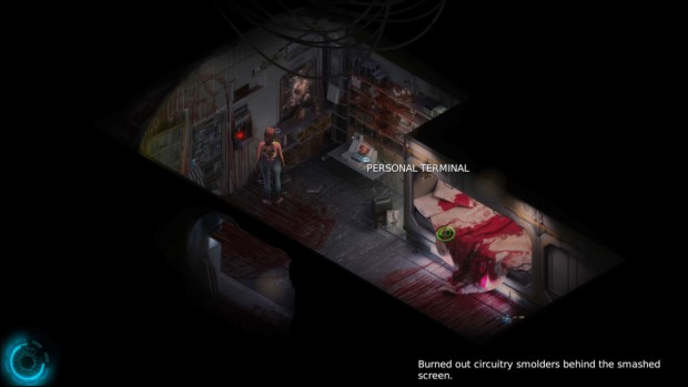 Cayne screenshot showing off a derelict room