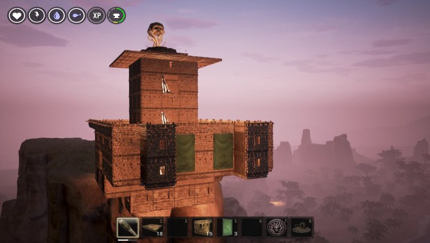 Conan Exiles screenshot of a fortress on top of a cliff