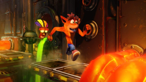 Crash Bandicoot N. Sane Trilogy screenshot of a lava-filled pipes